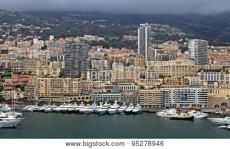 Cityscape Of Monte Carlo And Hercules Harbor , Monte Carlo, Monaco.