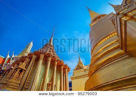 Golden Pagoda at Wat Phra Kaew - the Temple of Emerald Buddha in Bangkok Thailand
