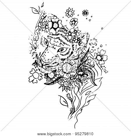 Abstract graphic tiger, print.