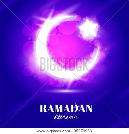 Vector Ramadan kareem text with crescent