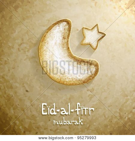 Vector Eid-Al-Fitr text with illustration.