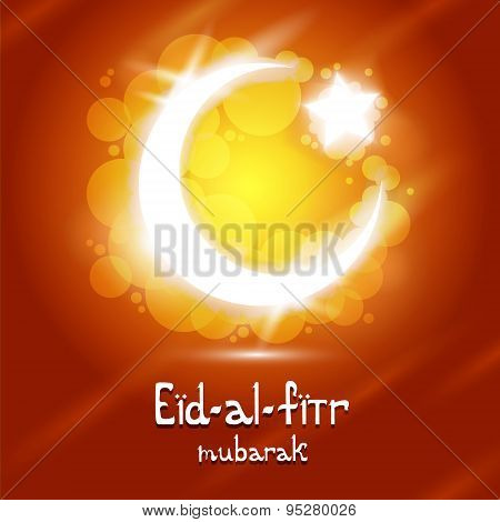 Vector Eid-Al-Fitr text with crescent