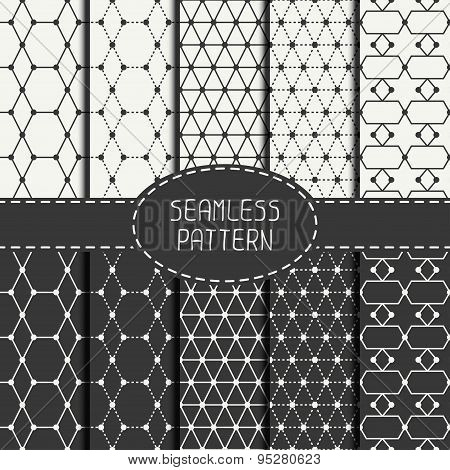 Set of geometric abstract seamless polygon pattern. Wrapping paper. Paper for scrapbook. Tiling. Vec