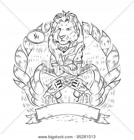 Doodle icon with lion and revolvers.