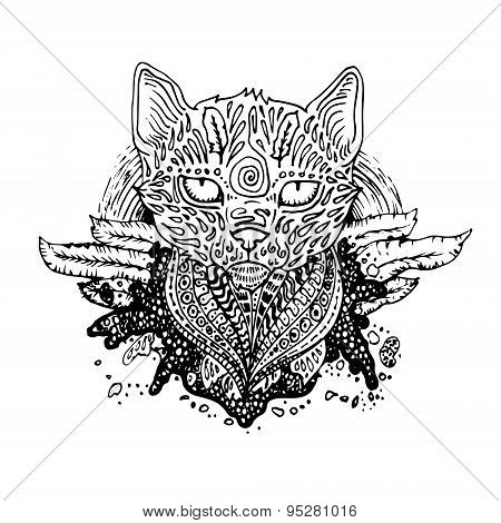 Graphic black vector cat.