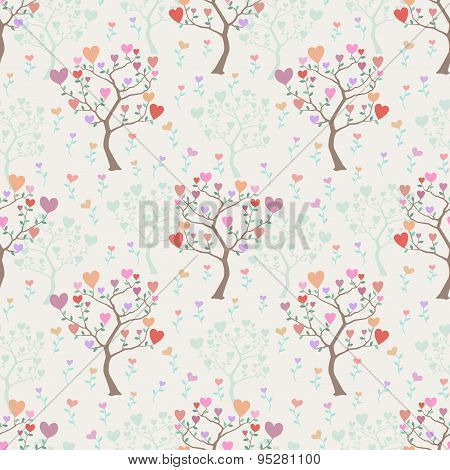 Seamless Background With Trees And Multicolored Hearts