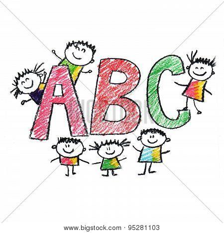 Illustration of School Kids with alphabet