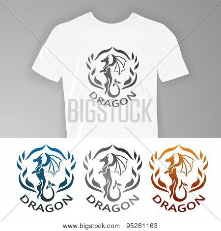 Text on t-shirt Dragon.