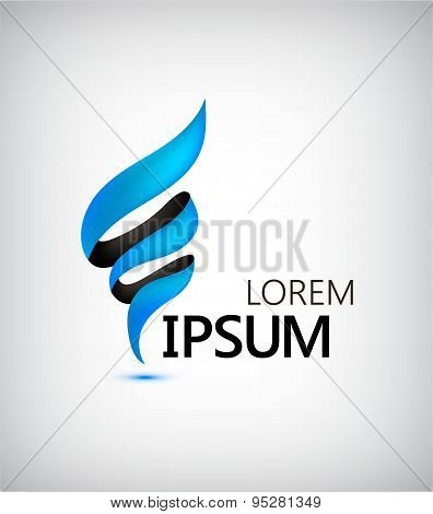 Business Finance Abstract Logo Design . Vector Spiral Blue Ribbon Isolated