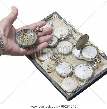 Clockwork Old Pocket Watch In A Hand