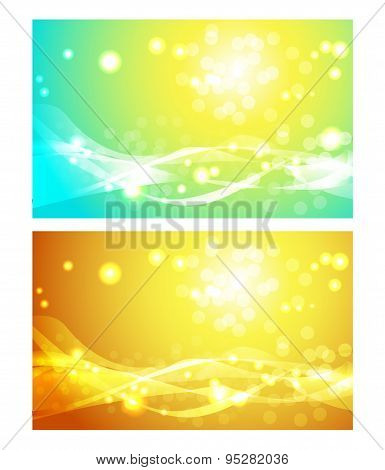 Set of backgrounds with sun.