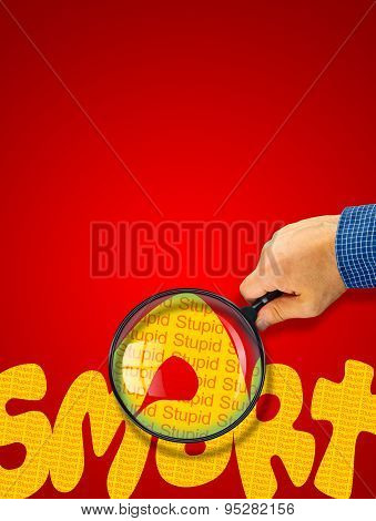 Smart - Stupid Opposite Message, Hand Holding Magnifying Glass