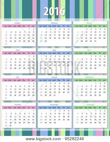 Calendar 2016 starting from sunday