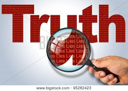 Truth - Lies Opposite Message, Hand Holding Magnifying Glass