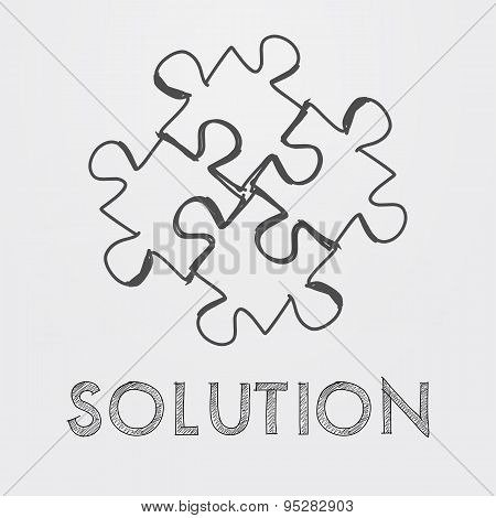 Solution And Puzzle Pieces In Hand-drawn Style