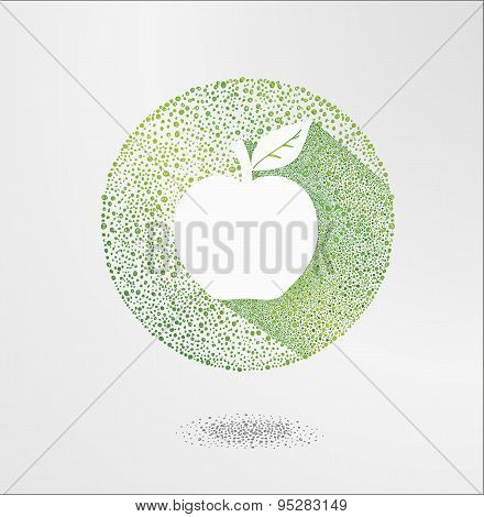 Apple. Elements for design,Vector apple illustration.Green apple icon, ecology and bio food concept