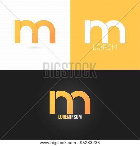 letter M logo design icon set background