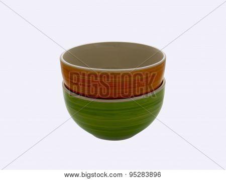 Orange And Green Ceramic Bowl On White Background. .
