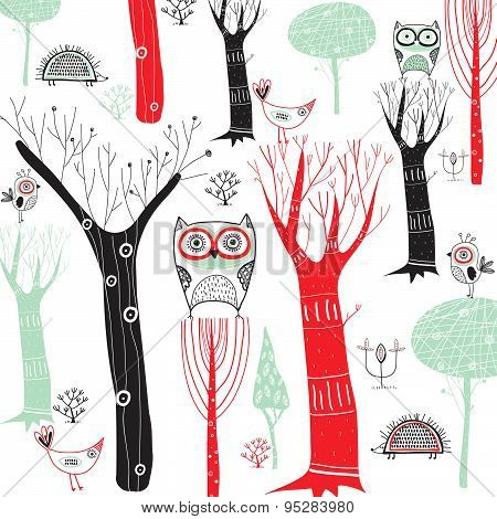 Cute vector background with colorful trees and birds. Cartoon forest with the owls and other birds.