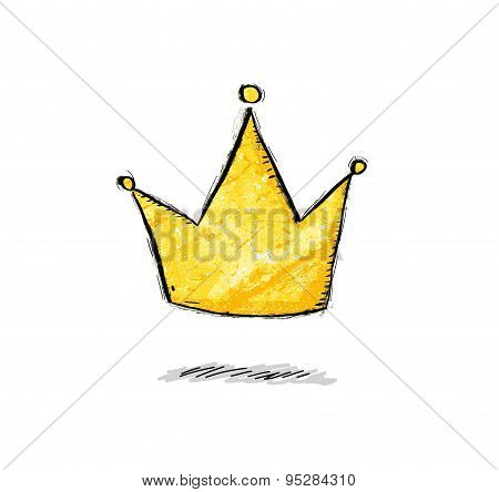 Golden crown in comic style.Vector