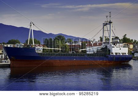 Fishing ship stationed in harbour