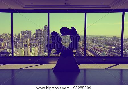 Abstarct sculpture on the top floor of Sheraton hotel
