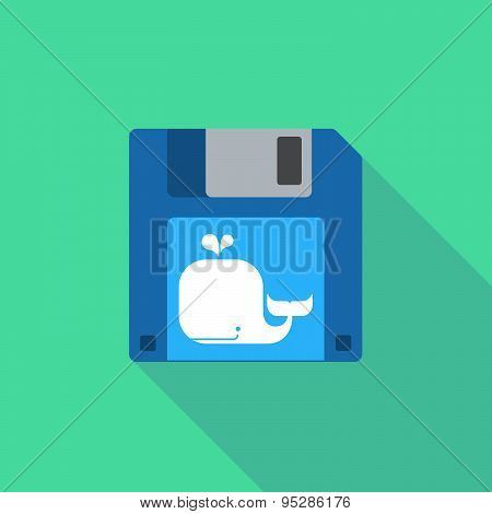 Long Shadow Floppy Icon With  A Whale