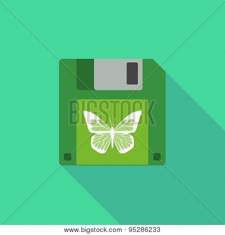 Long Shadow Floppy Icon With A Butterfly