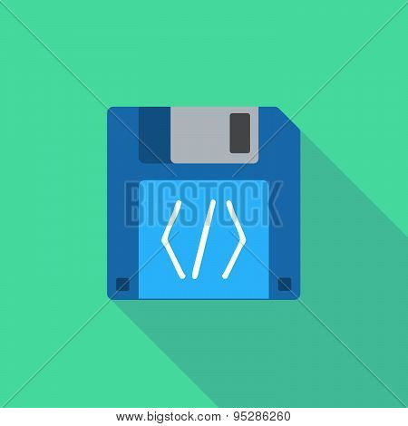 Long Shadow Floppy Icon With A Code Sign
