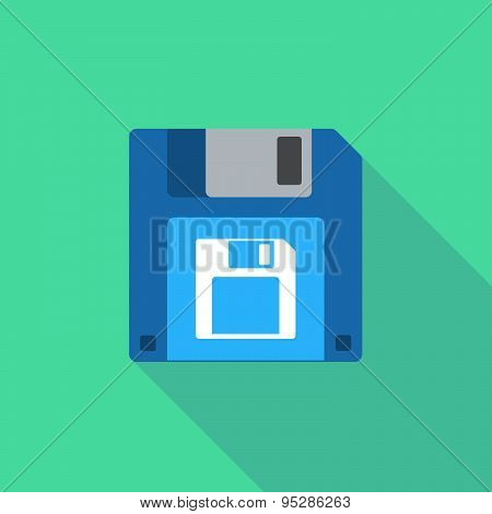 Long Shadow Floppy Icon With A Floppy Disk