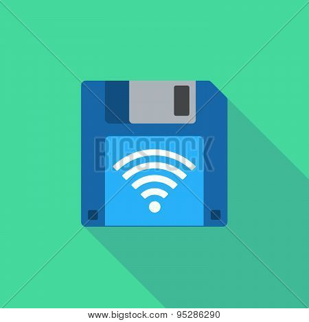 Long Shadow Floppy Icon With A Radio Signal Sign