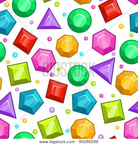 Seamless Pattern With Colorful Gemstones