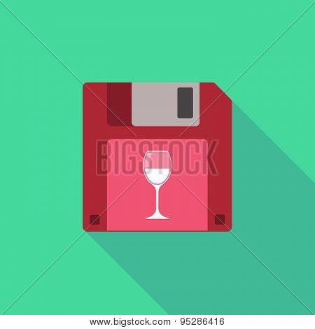 Long Shadow Floppy Icon With A Cup Of Wine