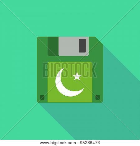 Long Shadow Floppy Icon With An Islam Sign