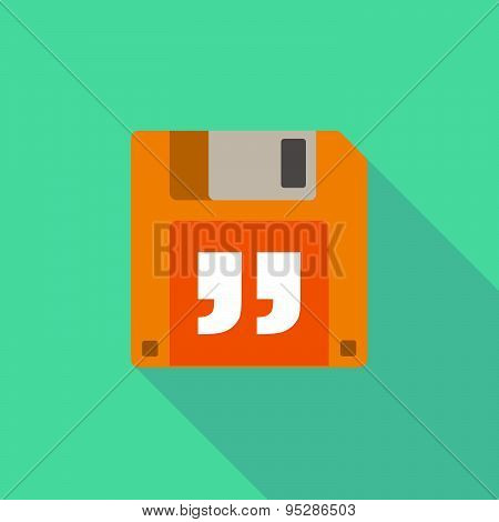 Long Shadow Floppy Icon With A Quotes
