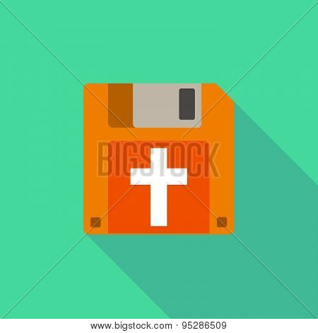 Long Shadow Floppy Icon With A Christian Cross
