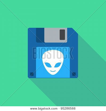 Long Shadow Floppy Icon With An Alien Face