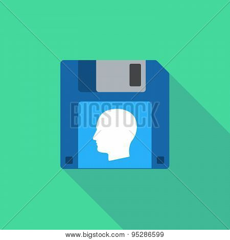 Long Shadow Floppy Icon With A Female Head