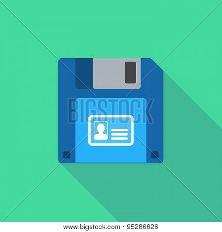 Long Shadow Floppy Icon With An Id Card