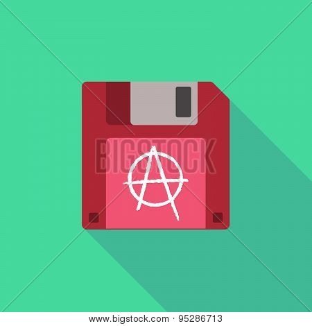 Long Shadow Floppy Icon With An Anarchy Sign
