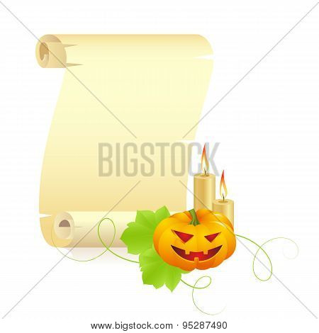 pumpkin and manuscript on a white background
