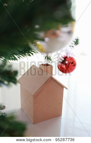 Christmas Decoration With Small Wooden House And Tree