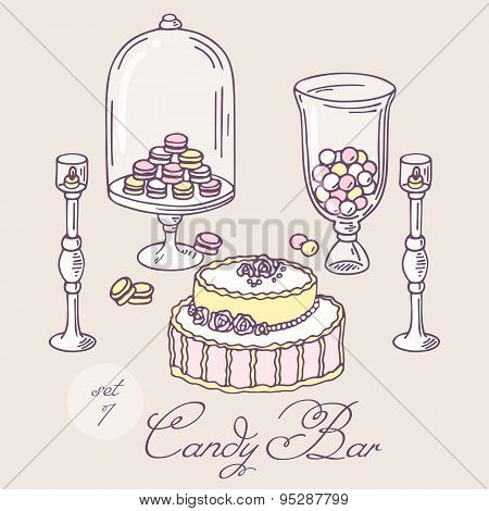 Set of hand drawn candy bar objects. Bakery goods clip art