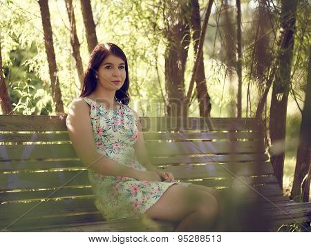 Attractive Brunette Girl Sits In The Park