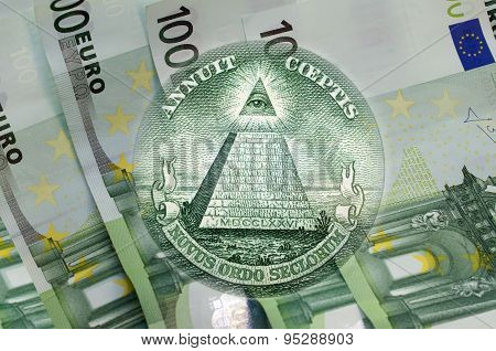 Pyramid, Eye Of Providence Above 100 Euros Banknotes. Macro
