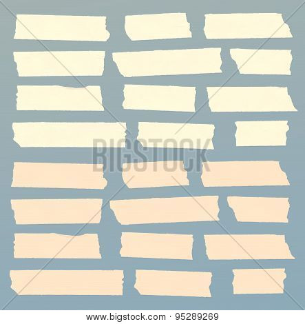 Set of horizontal and different size sticky tape,adhesive pieces
