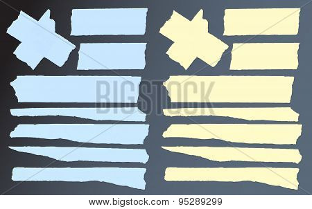 Set of horizontal and different size sticky tape,adhesive pieces on black background