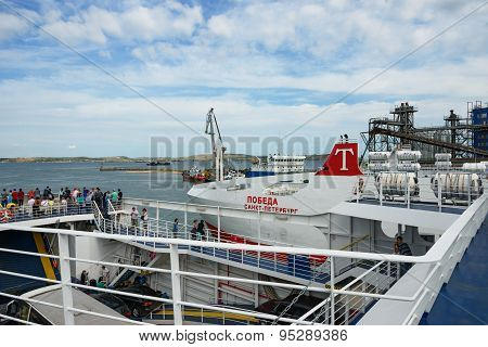 Tourists Are On Ferry Boats In Port Kavkaz, Russia.