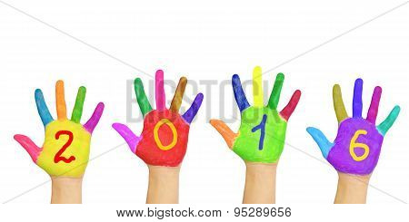 Kids Colorful Hands Forming Number 2016