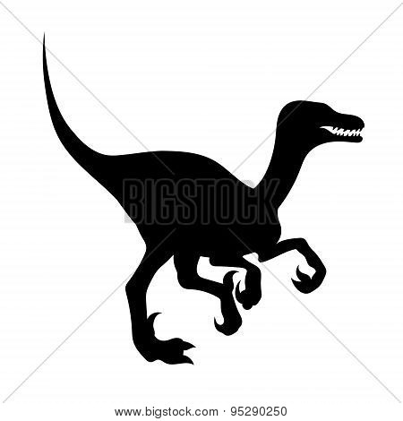 Silhouette of a velociraptor.